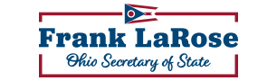 Image is logo with Frank LaRose's name in bold letters with Ohio Secretary of State written directly beneath and the seal of the Secretary of State of Ohio directly to the right.